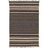 4' x 6' Mexican Nights Espresso Black and Cappuccino Brown Hand Woven Area Throw Rugs