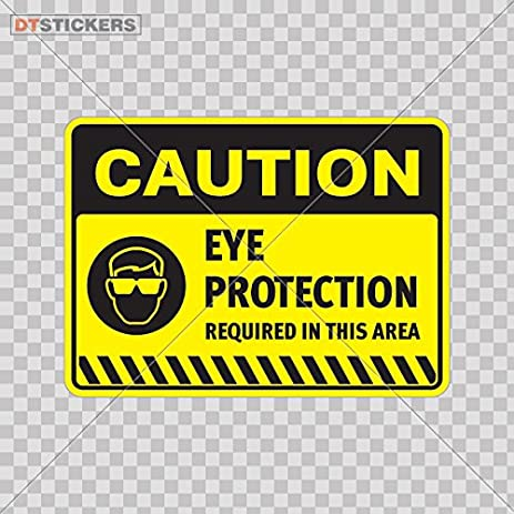 Sticker safety sign caution eye protection required in color print 7 x 5 1 i