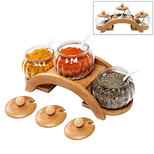 Condiment Glass ((Set of 3) Clear Glass Condiment Spice Jars, Ceramic Serving Spoons & 2 Tier Wood Display Rack - MyGift)