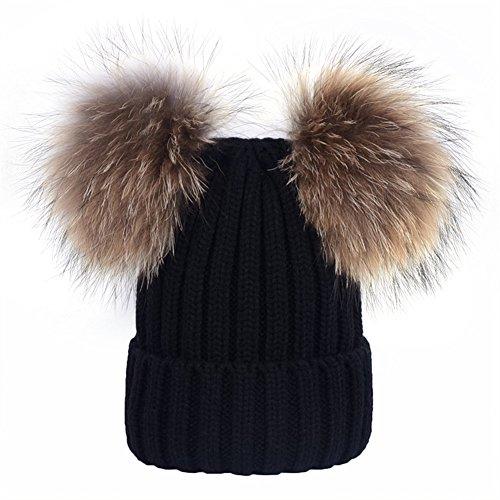 DELORESDKX Women Winter Knitted Beanie Hats Real Raccoon Fur Pom Pom Hats Caps Soft (Black ()