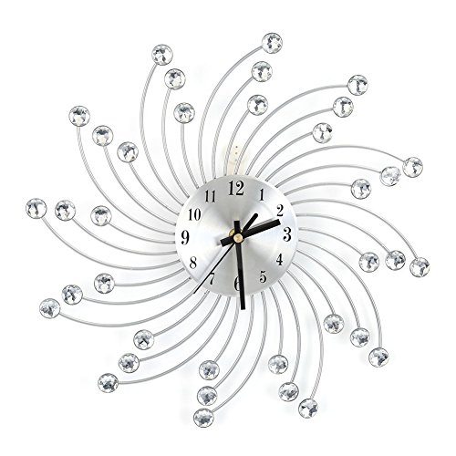 GOTOTOP Hanging Wall Spiral Diamond Clock, Creative Crystal Jeweled Decorating Flower-shaped Edge Clock for Living Room Wall Decor, Silver