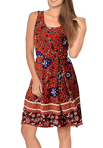 Poulax Women Casual Sleeveless Striped Print Swing Mini T Shirt Tank Dress with Pockets (L, 02 Red)