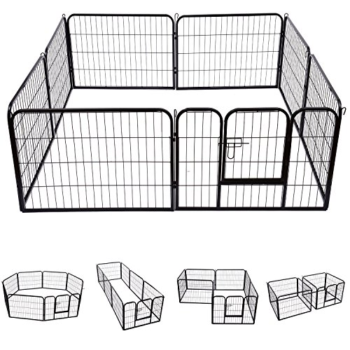 Safstar Heavy Duty Pet Dog Puppy Outdoor Exercise Playpen Fence Door Black 8 Panels (40