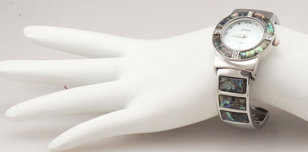 Abalone Watch Bangle Cuff Inlay Style with Crystal Accents by Wincci (Image #3)