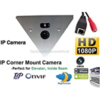 H.264 1920x1080P 2.0MP IP Network NightVision Corner Mountable Camera 12VDC Support Audio P2P Onvif, Mobile Phone View. Prefect for Elevator, Inside Room. with PoE Splitter
