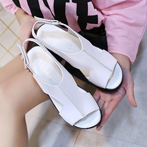 Jamicy Weiß Damenmode Slope Toe Open Schuhe Wedges Sandalen Leder Schnalle rrzqF
