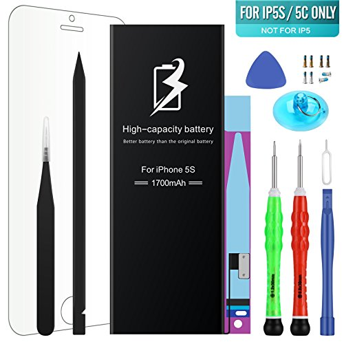 High Energy Li-ion Battery Model iPhone 5S&5C - With Repair Tool Kits & Instructions - High-Capacity 1700 mAh 0 Cycle Replacement Batter - 1 Year Warranty