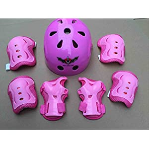 ASIBT Kid's Skateboard Helmet Sets Cycling Roller Skating Helmet Elbow Knee Pads Wrist Sport Safety Protective Guard Gear Set for Children of age 3 8 years old (Pink)