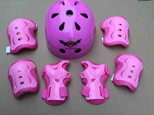 ASIBT Kid's Skateboard Helmet Sets Cycling Roller Skating Helmet Elbow Knee Pads Wrist Sport Safety Protective Guard Gear Set for Children of age 3-8 years old (Pink)