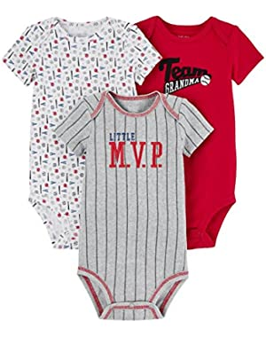 Carter's Just One You Baby Boys' 3 Pack Short Sleeve Bodysuit Set (Red Team)