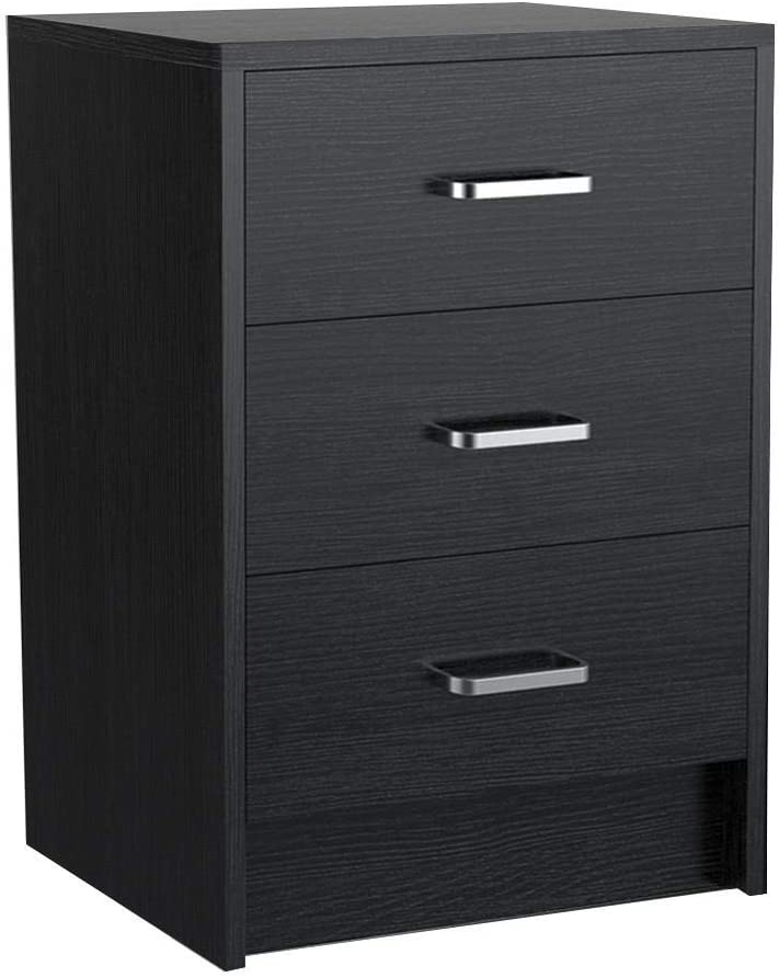 Yaheetech End Side Table Nightstand with 3 Drawers, Wooden Sofa Bed Side Storage Stand Cabinet for Bedroom, Accent Night Stand Table, Black