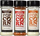Urban Accents All Natural Gluten Free Premium Popcorn Seasoning Variety Pack - Cracked Pepper Asiago, Sizzling Sriracha, White Cheddar