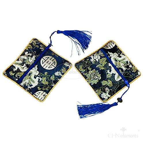 pny-pack von 2Top Qualität Seidig Tasche Geldbörse mit Oriental design-dragon Navy Blau
