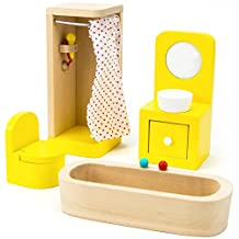 Imagination Generation Wooden Wonders County Bathroom Set Dollhouse Furniture, 4 Pieces