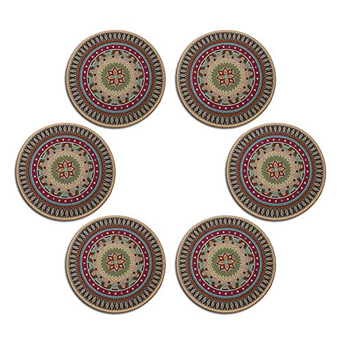 Placemats Set of 6, Table Mats with Non-Slip Rubber Backing – Washable Dining Kitchen Insulation Placemat Round Heat-Resistant Coasters Vintage Coffee Coaster Bohemian Drinks Coaster (Pattern 2)