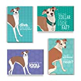 Pop Doggie Italian Greyhound Refrigerator Magnets with Funny Sayings (Set of 4)