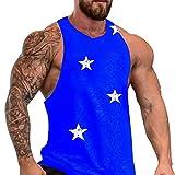 iHPH7 Vest Men Sleeveless Tank Top Shirts Men New Star Printed Vest for Summer Simple Fashionable Sports Fitness Vest Star Print XL Blue