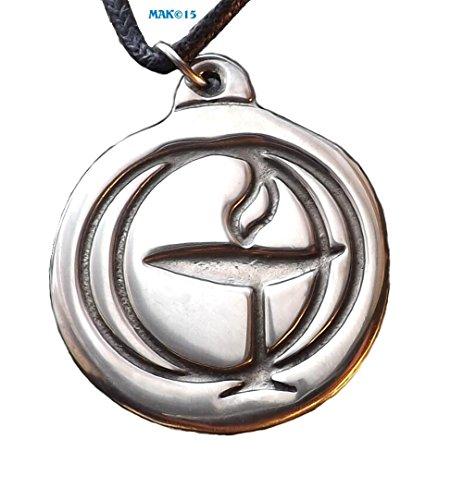 - Flaming Chalice - Pewter Pendant - [Size: 1-1/8 inch across] Spirit, Spiritual, Unitarian Universalist