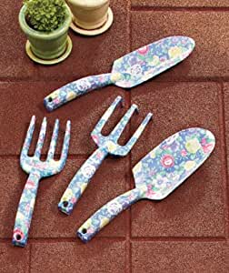 Floral Garden Tool Set (4) Piece - Blue aluminum alloy tools ?- Ideal gardening gift! Limited quantities