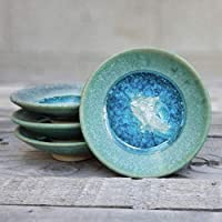 GEODE RING DISH: Individual Geode Ring Dish in AQUA, Fused Glass Dish, Trinket Dish, Soap Dish, Crackle Glass, Candle Holder, Dock 6 Pottery, Kerry Brooks Pottery
