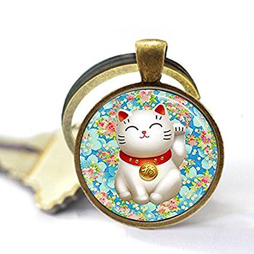Ring Keychain Flower Key - Lucky Cat Keychain Pink and Blue Flower Blossom Keychain,Maneki Neko Good Luck Keychain,Unique Key Ring Customized Gift,Everyday Gift Key Chain