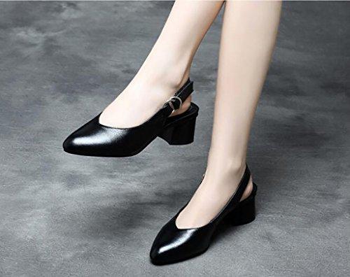 Tacón Fafz Planas De Sandalias Mujer Moda Punta A Tamaño Calzado color 38 Para A Grueso Cómodas sandalias wrErq5xd