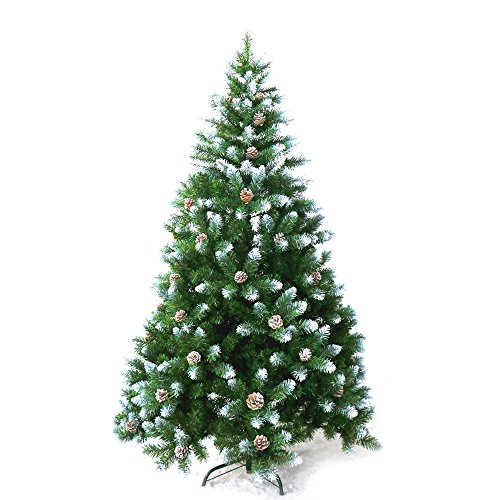 ALEKO CTPC95H17 Luscious 8 Feet Christmas Tree With White Tips and Decorative Pine Cones Artificial Holiday Pine Tree Indoor Holiday Decor (Christmas Tree Pine)