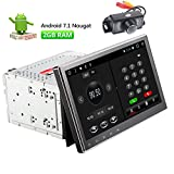 Android 7.1 Car Radio Stereo Double Din 10.1 inch Capacitive Touch Screen High Definition 1024x600 GPS Navigation DVD CD Player 2G DDR + 16G NAND Memory Flash + Backup Camera