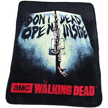 "The Walking Dead Fleece Throw Don't Open Dead Inside 46"" X 60"""