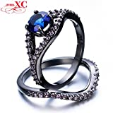 GemMart Jewelry Size 6-10 Jewelry Wedding Band For Couples Blue Black Gold Filled CZ Stone Ring Engagement RB0219