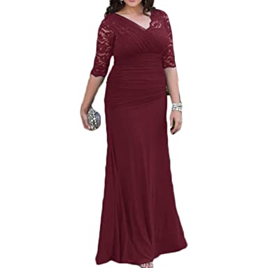 Liliesdresses Womens Elegant V Neck Lace Mom Dress 1/2 Sleeves Long Evening Gown Mermaid