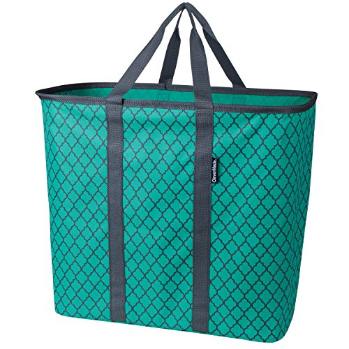 CleverMade Collapsible Laundry Tote, Large Foldable Clothes Hamper Bag, LaundryCaddy CarryAll XL Pop Up Storage Basket with Handles, Teal/Charcoal