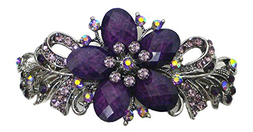 Gorgeous Barrette with Beads and Crystals U86012-0052purple by Bella