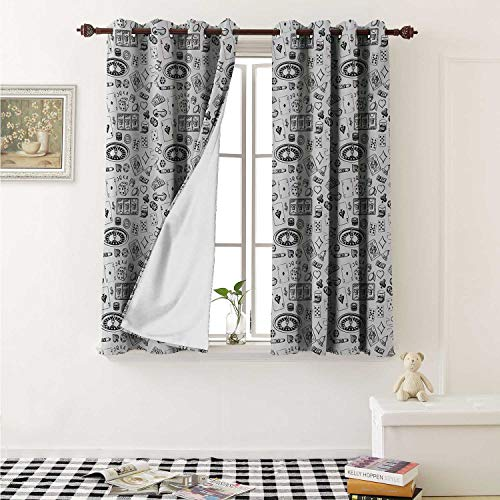 shenglv Casino Blackout Draperies for Bedroom Hand Drawn Style Monochrome Pattern with Roulette Cards Cigar Whisky Chip Money Curtains Kitchen Valance W72 x L63 Inch Black White