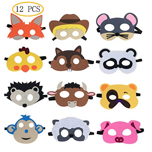 12 pcs Farm Animal Party Masks Barnyard Animal Felt Masks for Petting Zoo Farmhouse Theme Birthday Party Favors Kids Costumes Dress-Up Party Supplies]()
