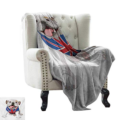 BelleAckerman White Throw Blanket English Bulldog,Happy Dog Wearing a Union Jack Vest Cartoon Style Animal Design,Cream Navy Blue Red Winter Luxury Plush Microfiber Fabric 50
