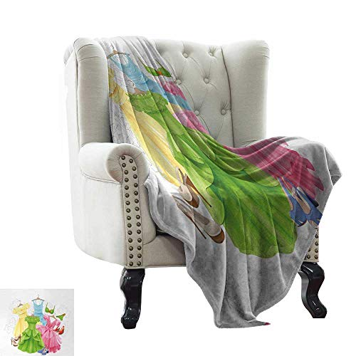 Flannel Throw Blanket Heels and Dresses,Princess Outfits Bikini Shoes Wardrobe Party Costumes in Girls Design,Multicolor All Season Light Weight Living Room/Bedroom 70