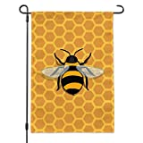 Graphics and More Bee on Honeycomb Garden Yard Flag with Pole Stand Holder