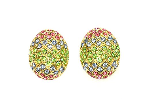 Faship Eggs Earrings Multi Colors Rhinestone Crystal for Easter