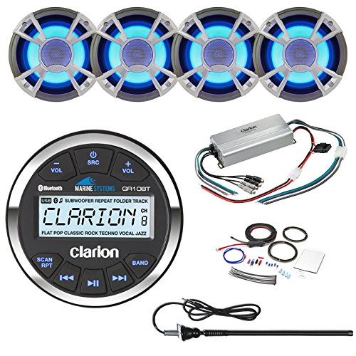 ClarionMarine 21' - 29' Pontoon Boat Audio Package: Audio Gauge Style Bluetooth Media Receiver, 4 x 6.5 200 Watt Blue-LED Marine Speakers, 4 Channel 400 Watt Compact Amplifier, Amp Kit, Antenna - Blue Led 4 Way Speakers