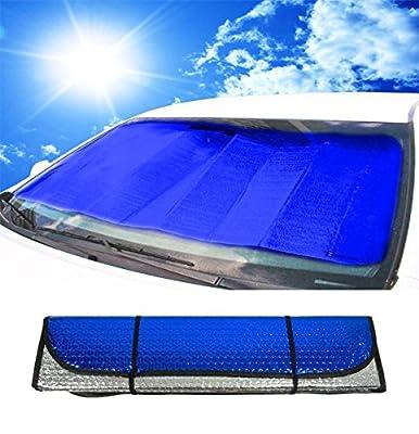"Zento Deals Blue/Silver Reversible Car Sunshade 27.2"" X 53.7"""
