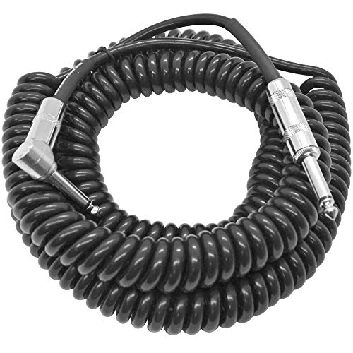 Seismic Audio - SAGCURLRT30-30 Foot Coiled Guitar or Instrument Cable - Right Angle 1/4 Inch TS to Straight Connectors 30