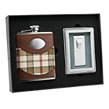 "Visol ""Braw"" Plaid and Leather Stainless Steel Hip Flask"