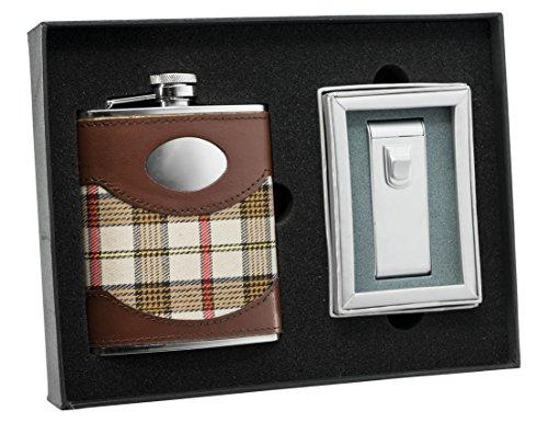 Flask Cigar Lighter (Visol Braw Plaid Leather Flask and Maximus Matte Chrome Torch Flame Cigar Lighter Set)