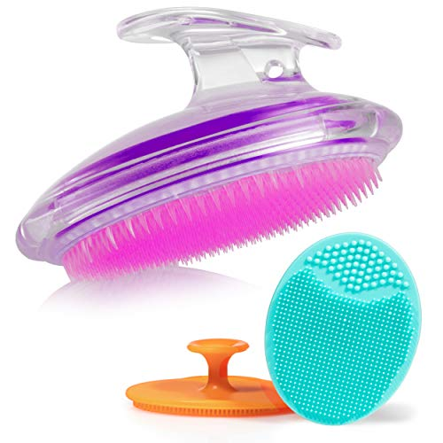Exfoliating Brush For Razor Bumps and Ingrown Hair Treatment, Silicone Face Scrubbers, Face and Body Exfoliator Set - Perfect for Dry Brushing, Body Brush by Dylonic