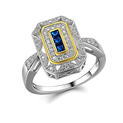 Newshe Statement Ring for Women Gemstone Birthstone Rings Sterling Silver Blue Sapphire Cz Size 7