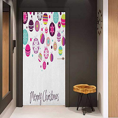 (Onefzc Soliciting Sticker for Door Christmas Colorful Graphic Baubles with Retro Snowflake Ornaments Celebration Hand Writing Mural Wallpaper W38.5 x H77 Multicolor)