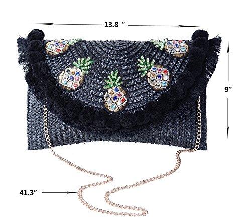 Straw Shoulder Womens Bag Crossbody Purse Beach Weave a Bag Handbags Summer and Black r6qnrxCI