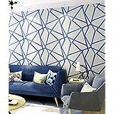 UBEN Wallpaper Modern Minimalist Geometric Pattern Non-Woven Wallpaper Nordic 3D Stereo TV Background Wall (Blue)