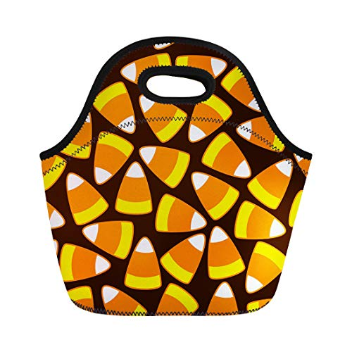 Semtomn Lunch Bags Colorful Autumn Halloween Party Candy Corn Ornamental Pattern Neoprene Lunch Bag Lunchbox Tote Bag Portable Picnic Bag Cooler Bag]()